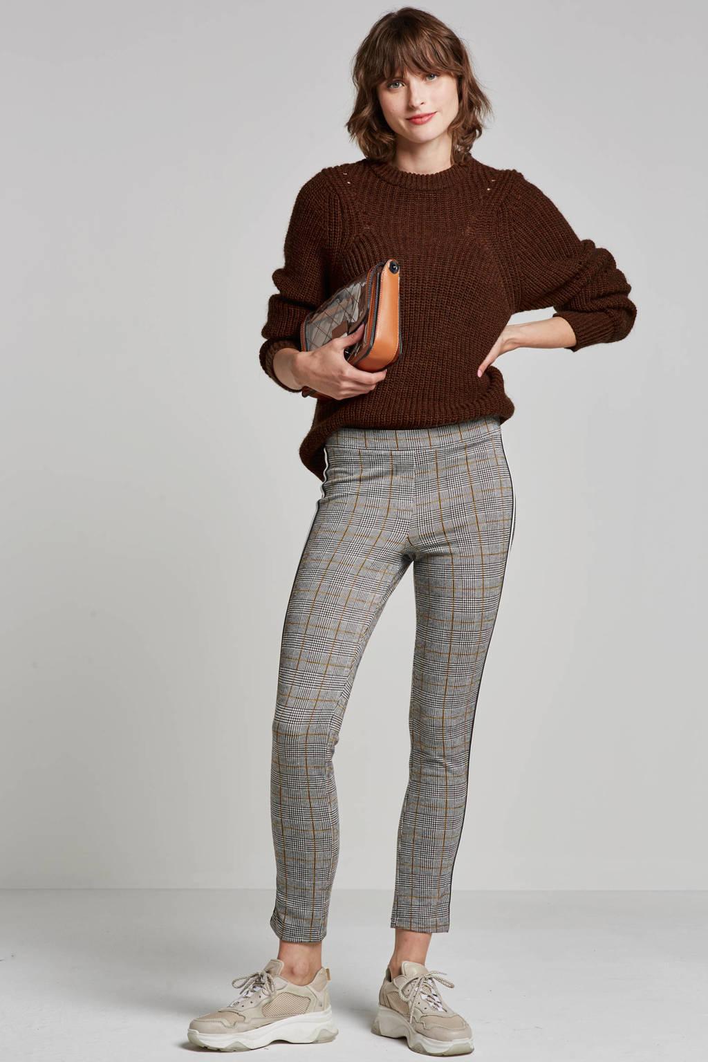 Geisha broek met zijstreep, Grijs/zwart