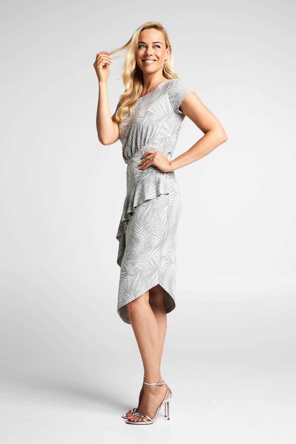 Steps jurk met linnen en ruches grijs, Grijs