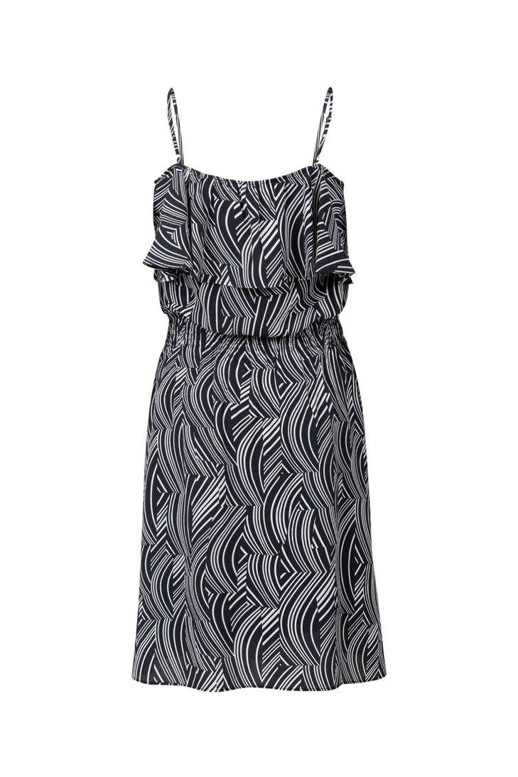 jurk wit met zwart Steps print 1wdRqZZz