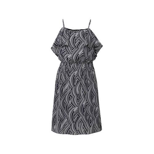 jurk met print zwart wit