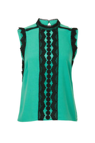 top met kant turquoise