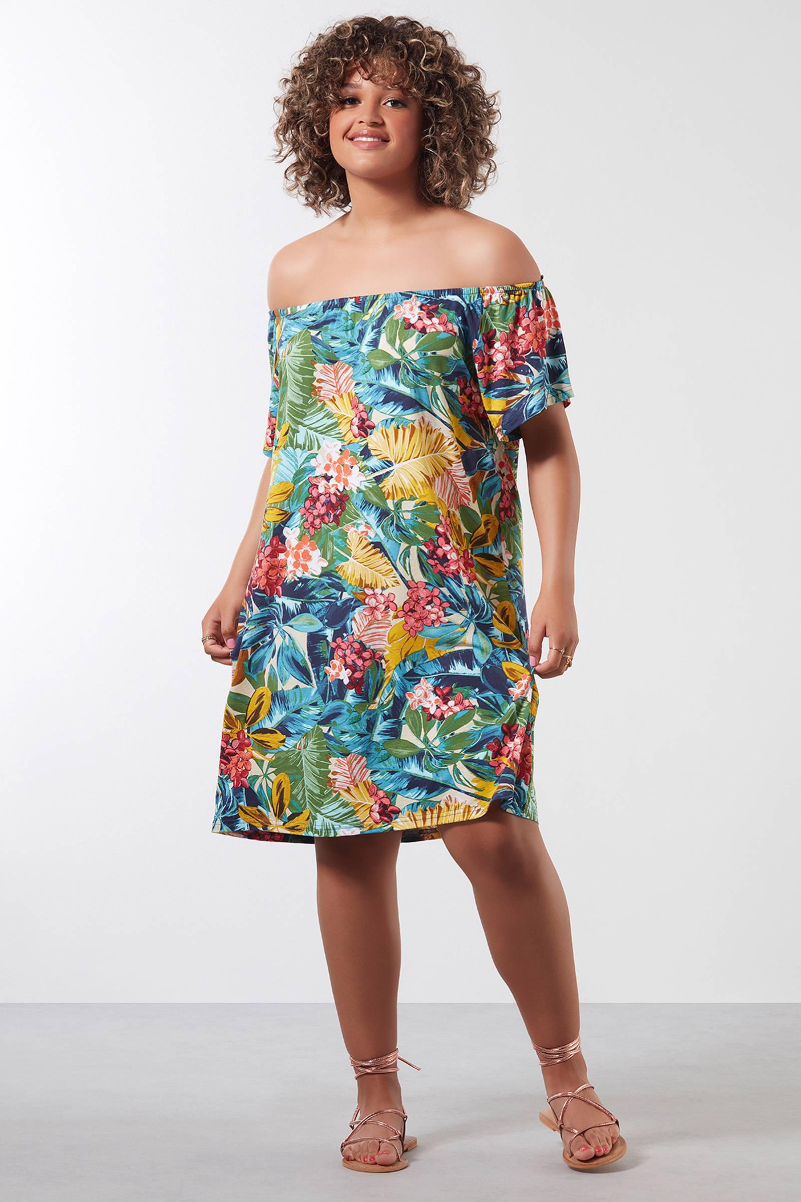 f7ce73cf4a0239 MS Mode off shoulder jurk met tropische print