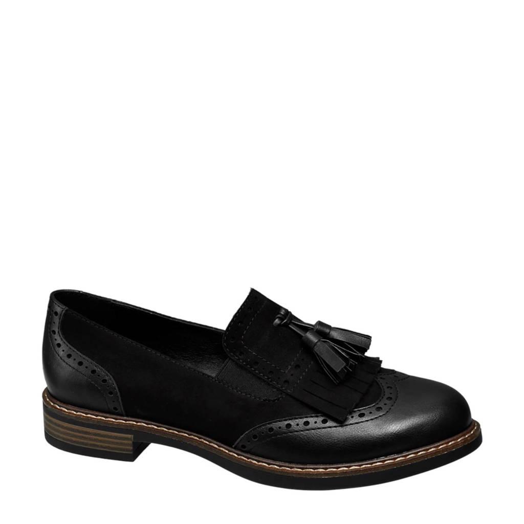 vanHaren Graceland   loafers met franjes zwart, Zwart