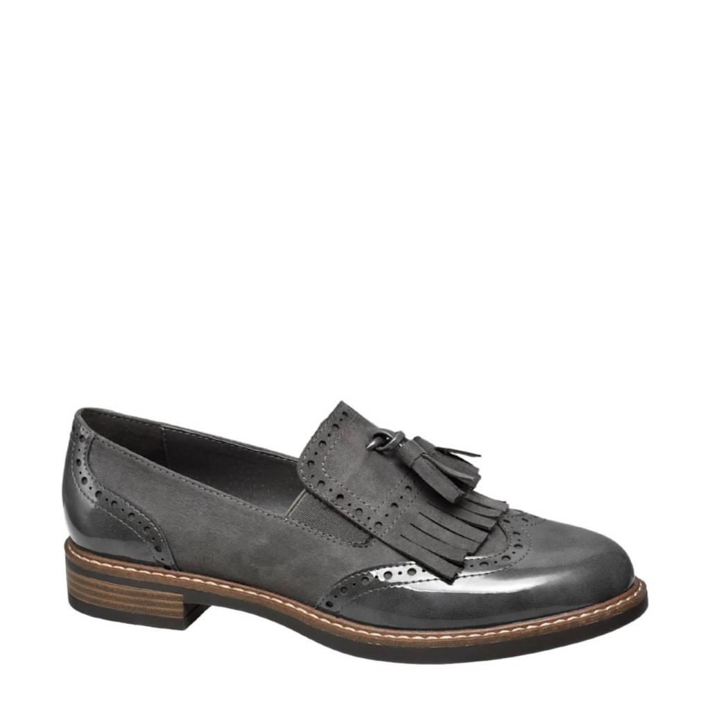 vanHaren Graceland loafers met franjes grijs, Grijs