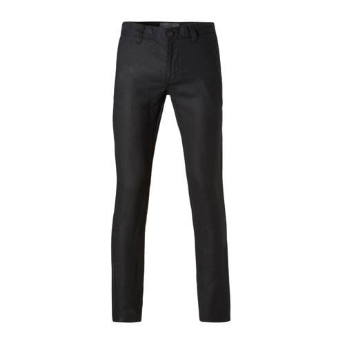 linnen straight fit broek zwart