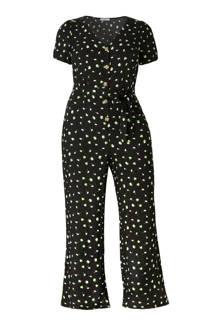 loose fit jumpsuit met bloemen zwart