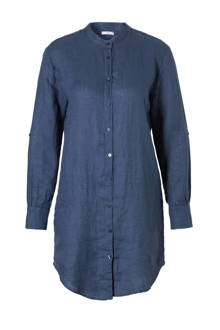 lange linnen blouse donkerblauw