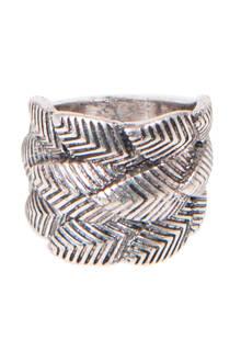 ring met geweven bladmotief zilverkleurig