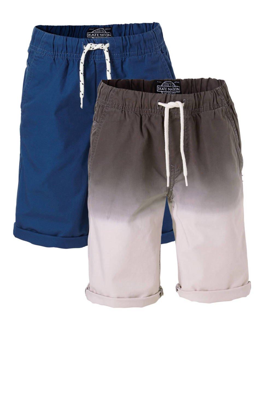 C&A Here & There bermuda - set van 2, Blauw/grijs/wit