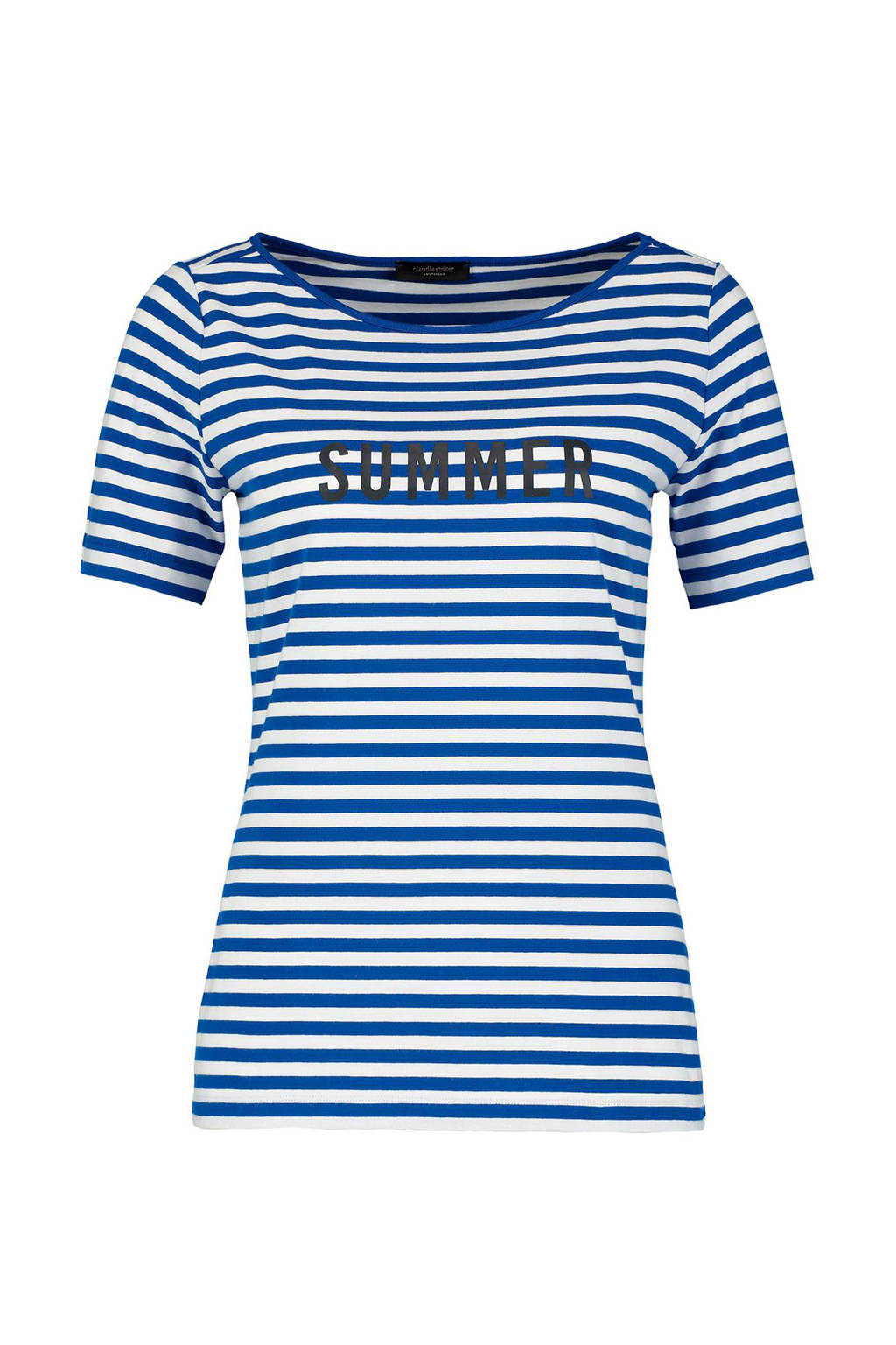 Claudia Sträter gestreept T-shirt blauw - wit, Blauw/wit