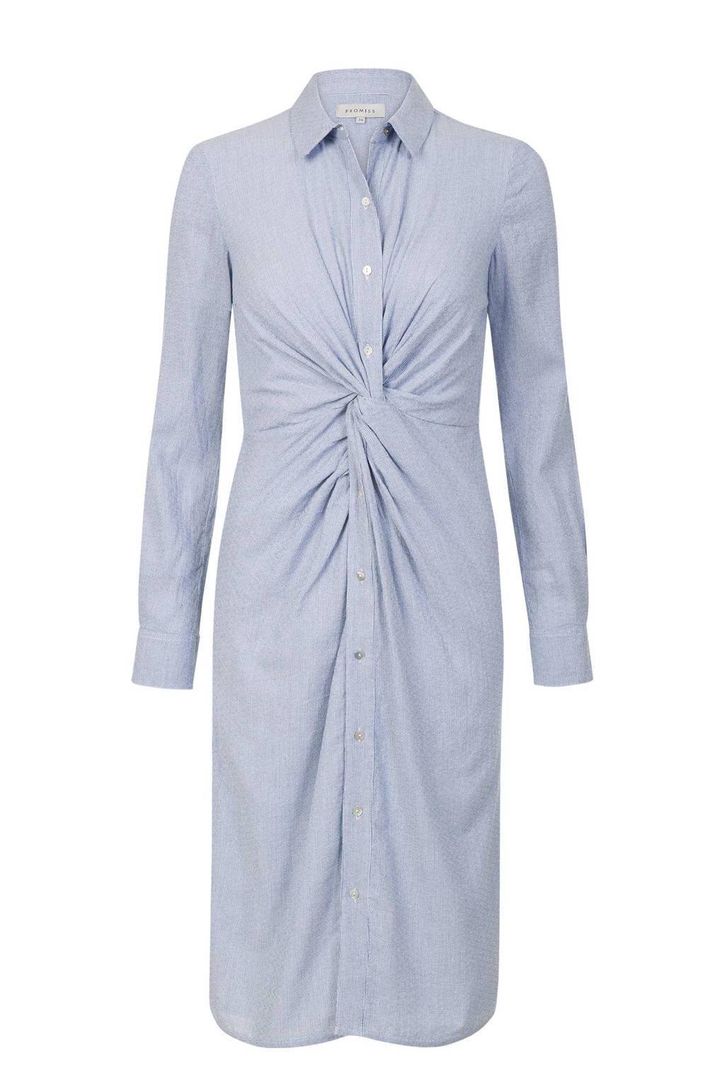 Promiss blousejurk met knoopdetail lichtblauw, Lichtblauw