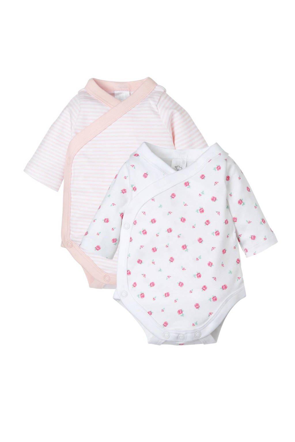 C&A Baby Newborn newborn romper - set van 2, Roze/wit