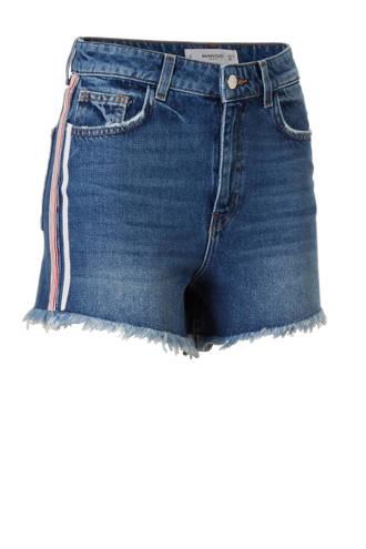 high waist jeans short met zijstreep