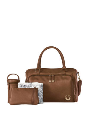 Double Zip Satchel luiertas redwood chestnut