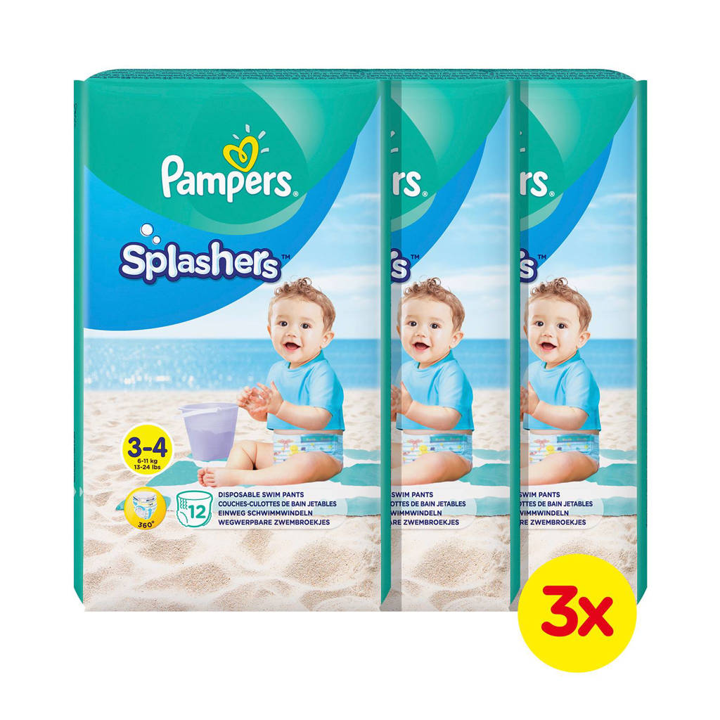 Pampers Splashers Maat 3-4 (6-11 kg) 36 wegwerpbare zwemluiers, 36 stuks