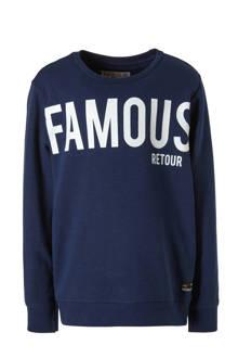 sweater Gino met tekst blauw