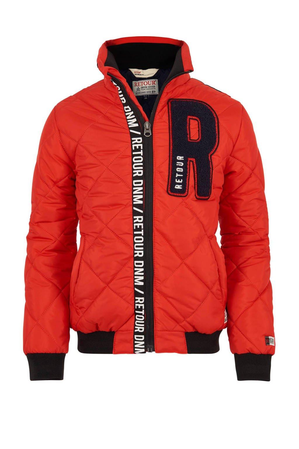 Retour Denim winterjas Dean rood, Rood/zwart