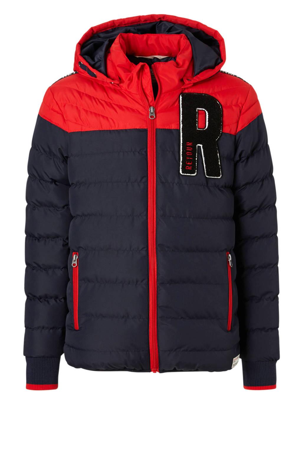Retour Denim winterjas Milan blauw/rood, Donkerblauw/rood