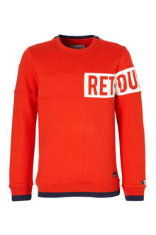 sweater Joshua met logo rood