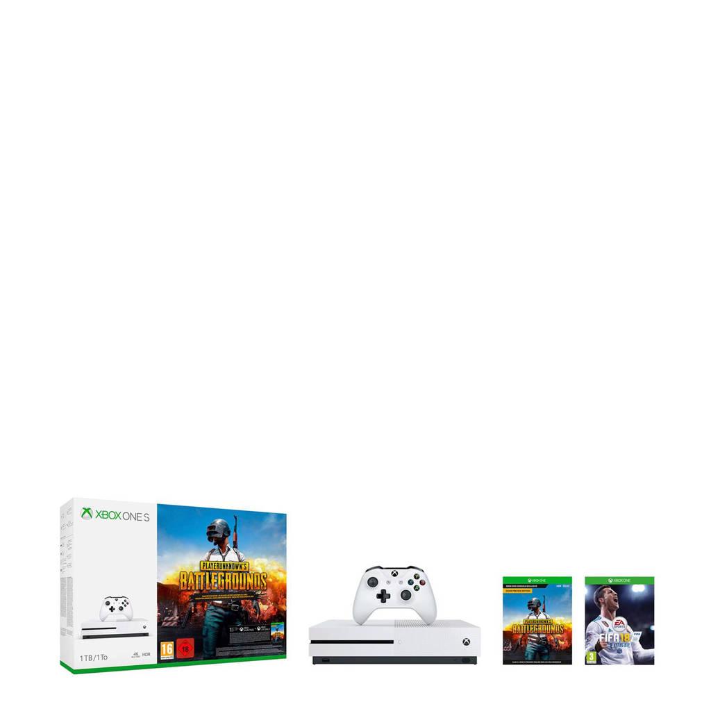 Microsoft Xbox One S 1TB + PlayerUnknown's Battlegrounds + FIFA 18, Wit