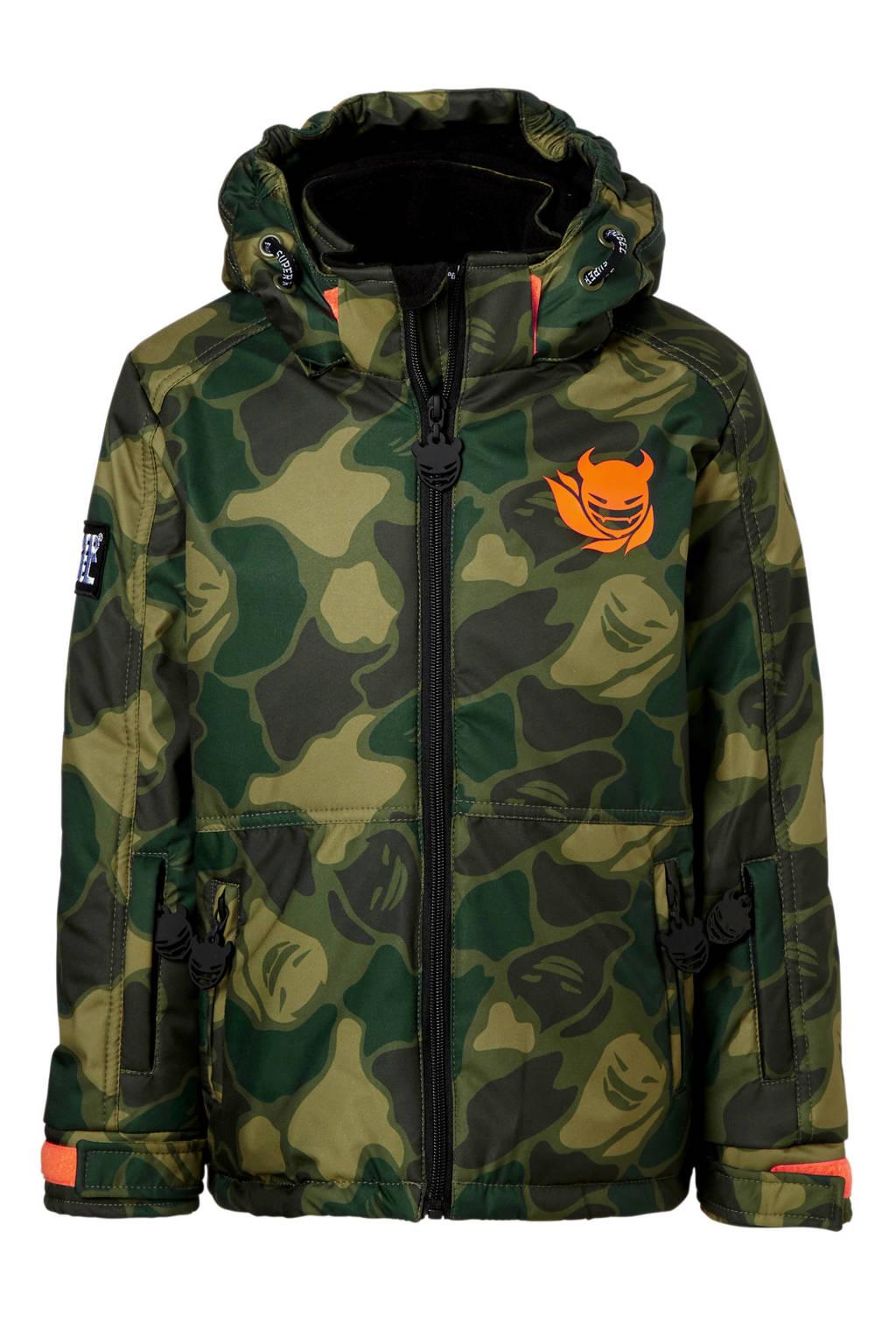Superrebel ski-jack camouflage groen, Groen/Camouflage