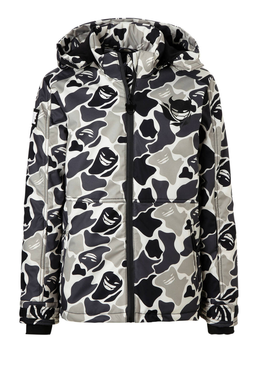 Super Rebel ski-jack camouflage, Grijs/wit/zwart camouflage