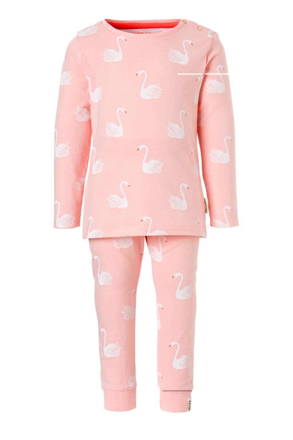 Tumble 'n Dry Lo pyjama Teri met zwanen roze, Roze/wit