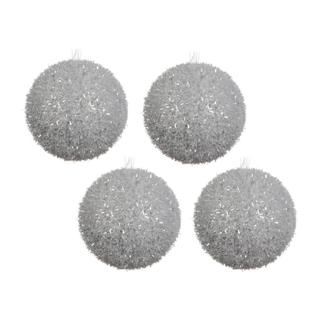 Decoris kerstballen (Ø8 cm) (set van 4), Zilver