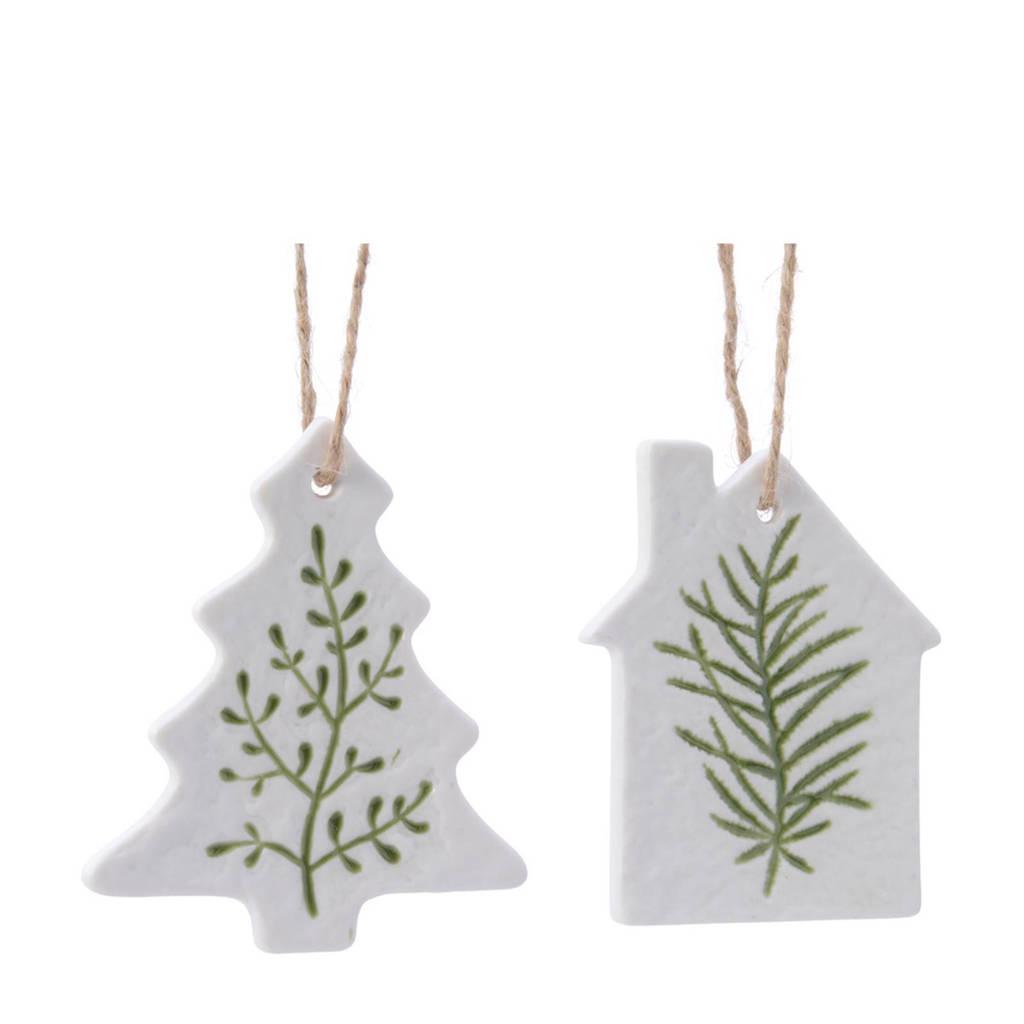 Decoris kersthanger dennenblad (5,5 cm) (set van 2), Wit/groen