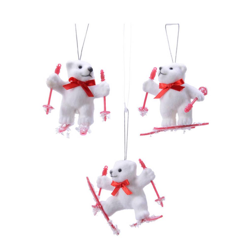 Decoris kersthanger ijsbeer (8,5 cm) (set van 3), Wit/rood