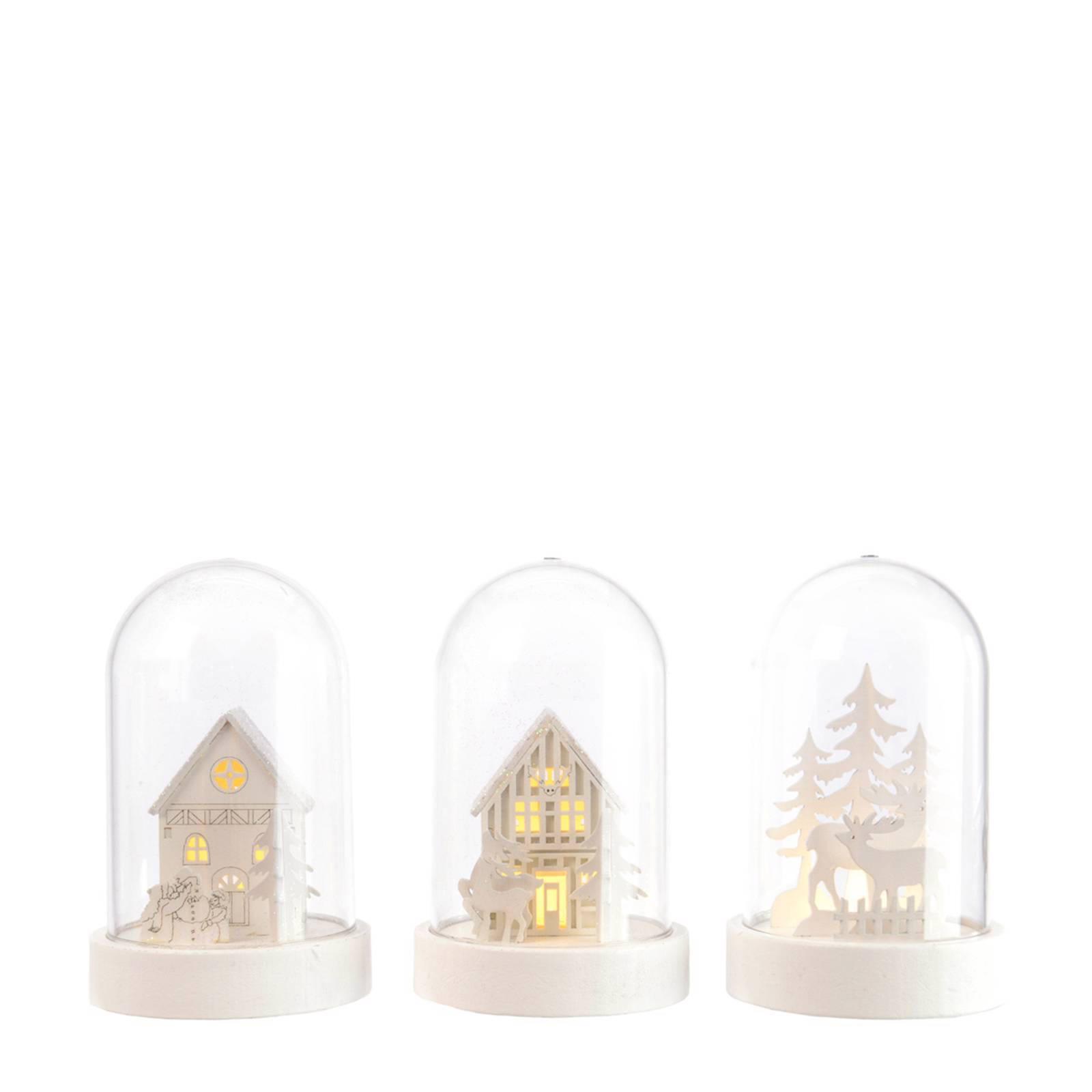 Lumineo kerststolp met LED verlichting (set van 3)   wehkamp