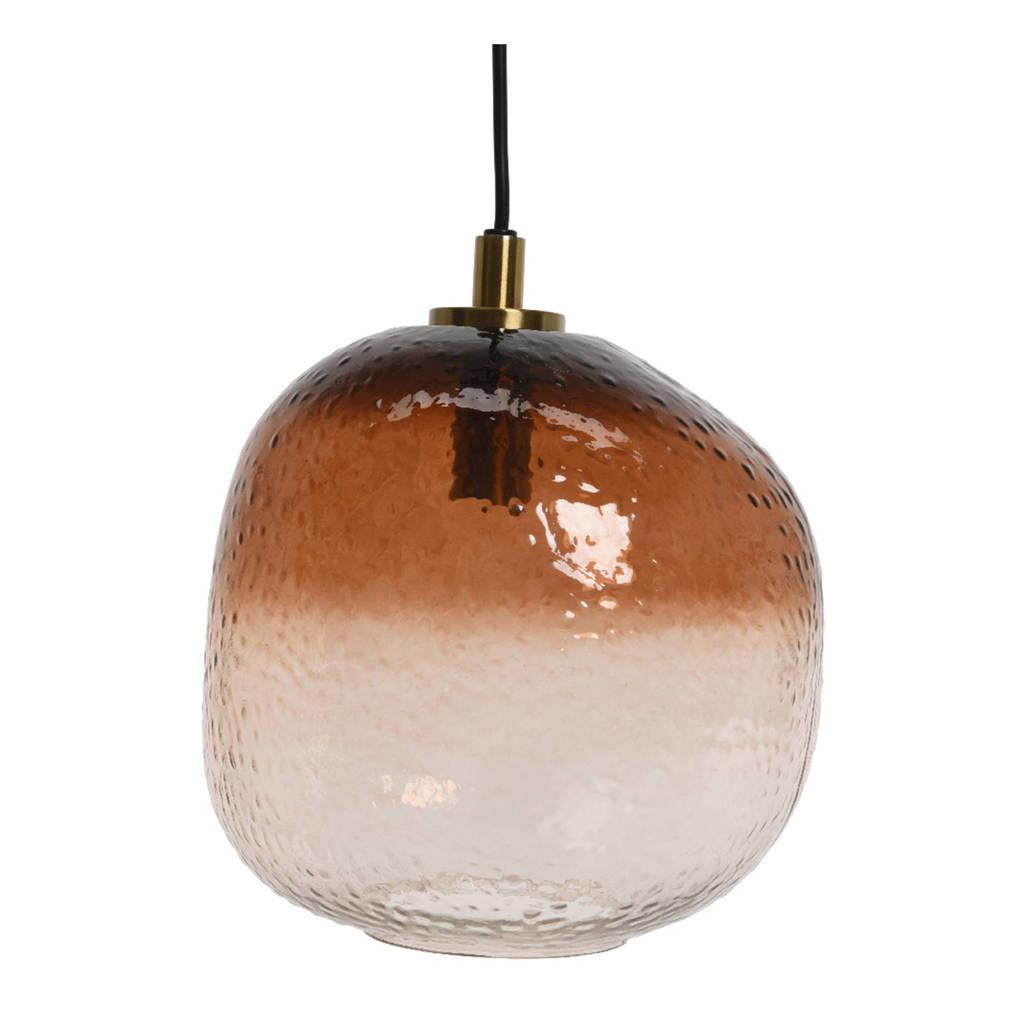 Lumineo hanglamp glas, Bruin/wit