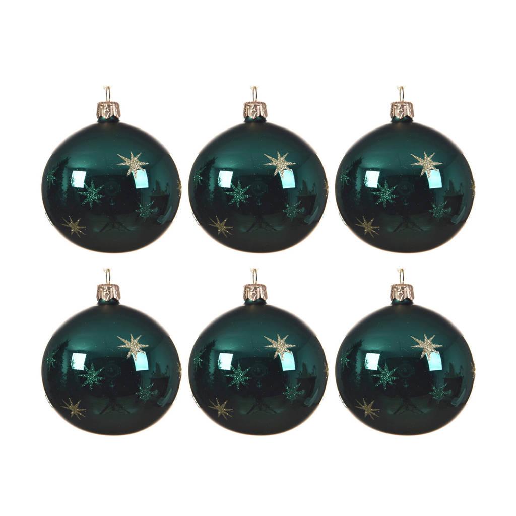 Decoris kerstballen (Ø8 cm) (set van 6), Smaragdgroen