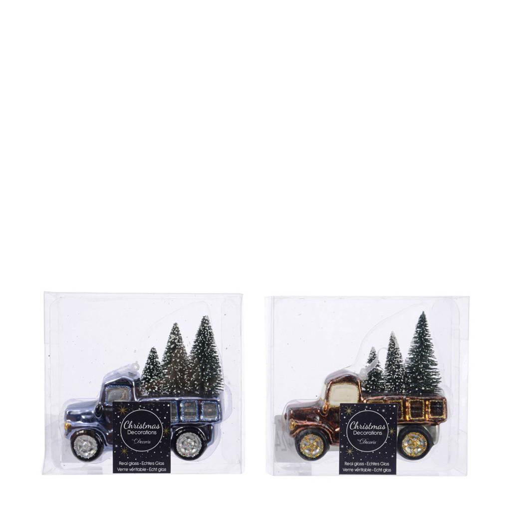 Decoris glazen kersthanger auto (12 cm) (set van 2), Blauw/Koper