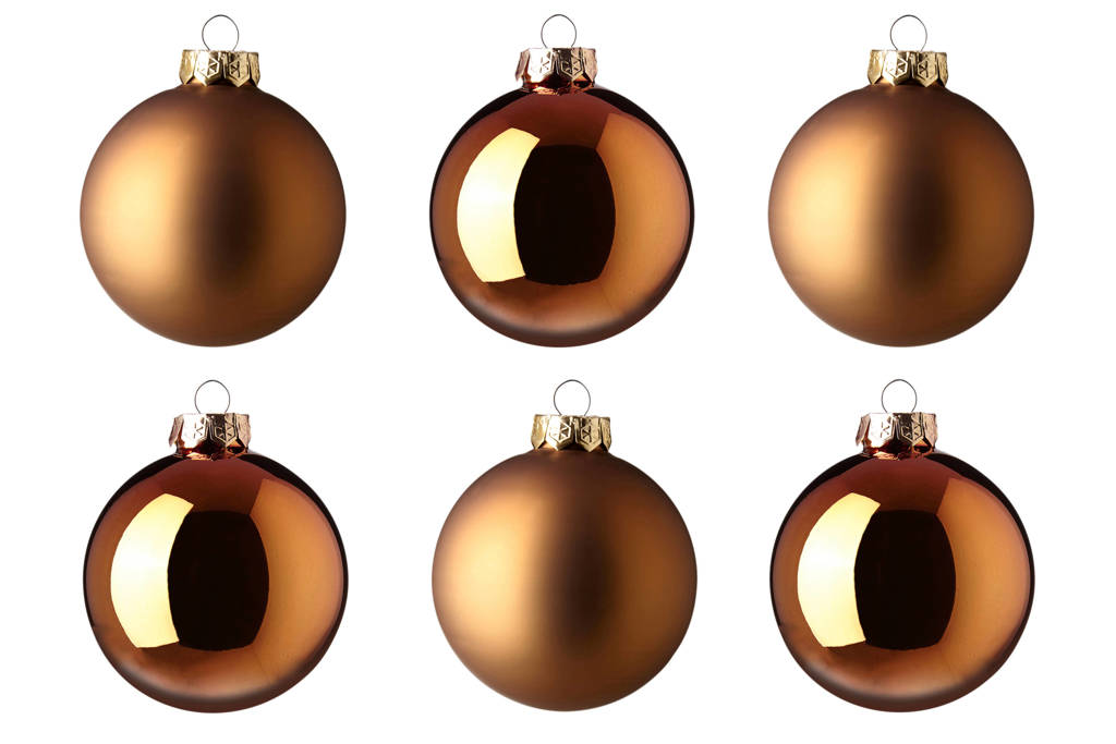 Decoris kerstballen (Ø8 cm) (set van 6), Roestbruin