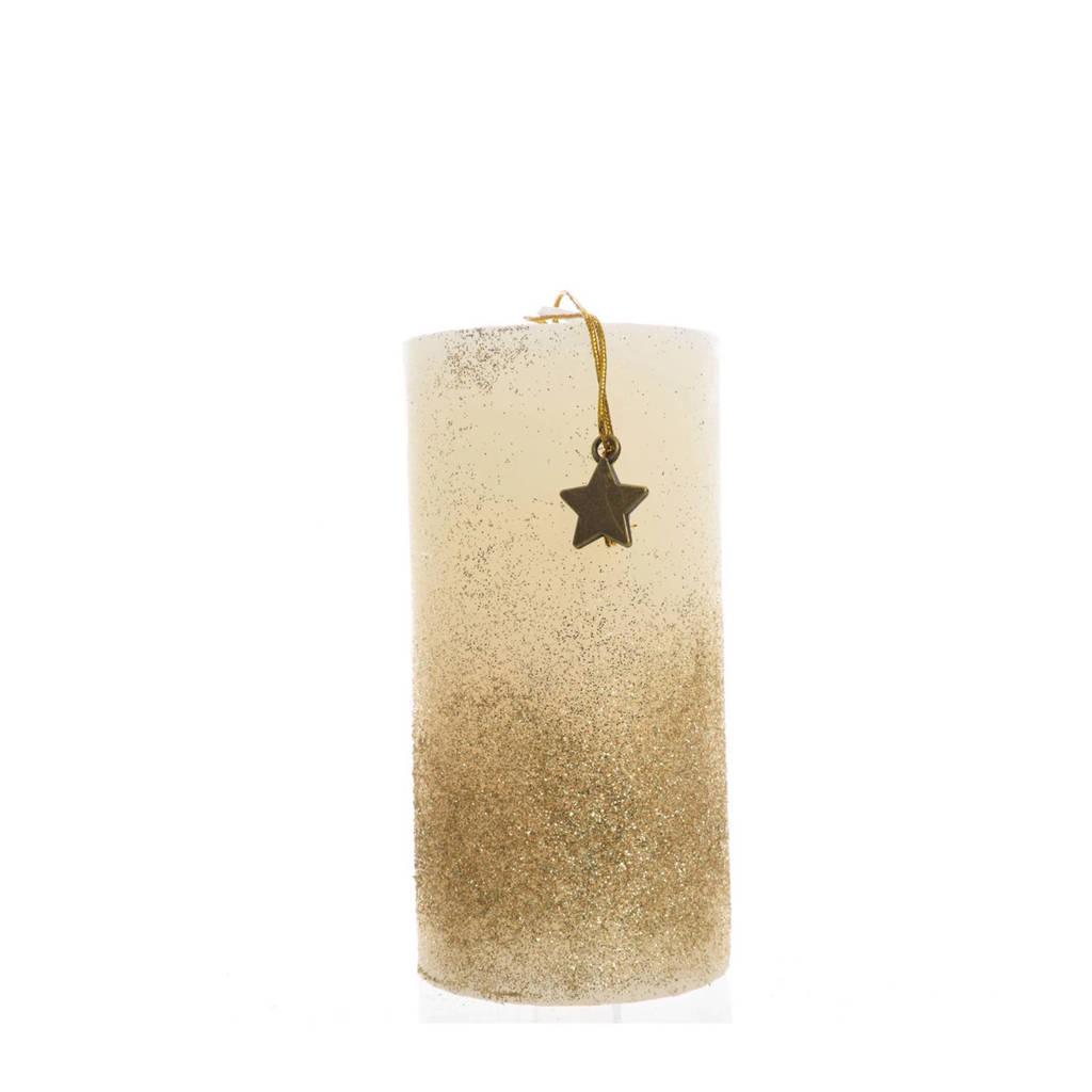 Decoris kaars glitters (13 cm), Ø7x13 cm, Goud