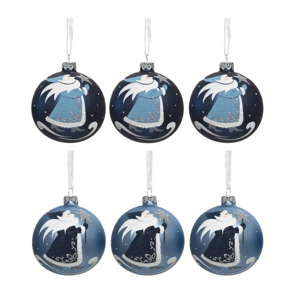 Decoris kerstballen (Ø8 cm) (set van 6), Blauw