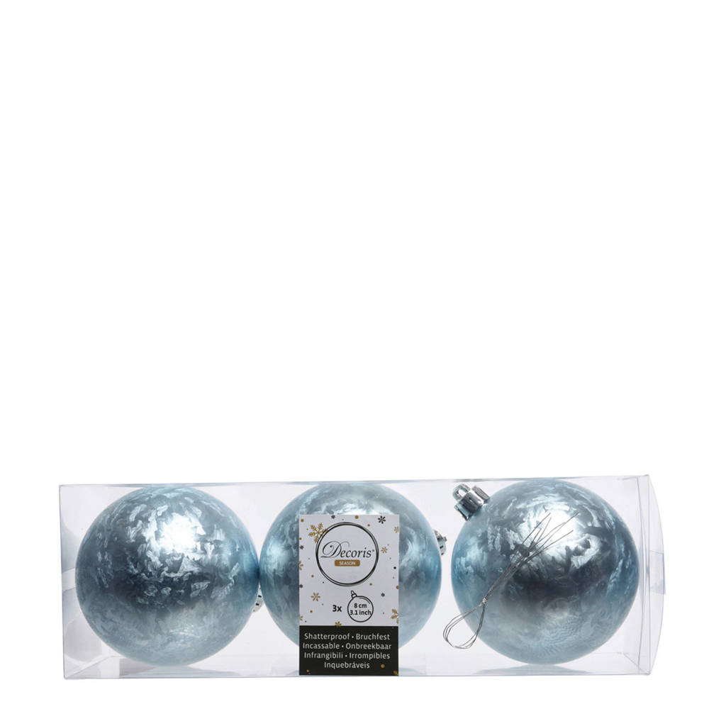 Decoris kerstballen (Ø8 cm) (set van 3), Blauw