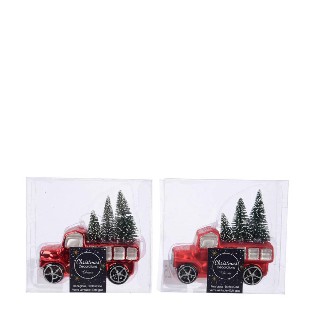 Decoris glazen kersthanger auto (12 cm) (set van 2), Rood/groen