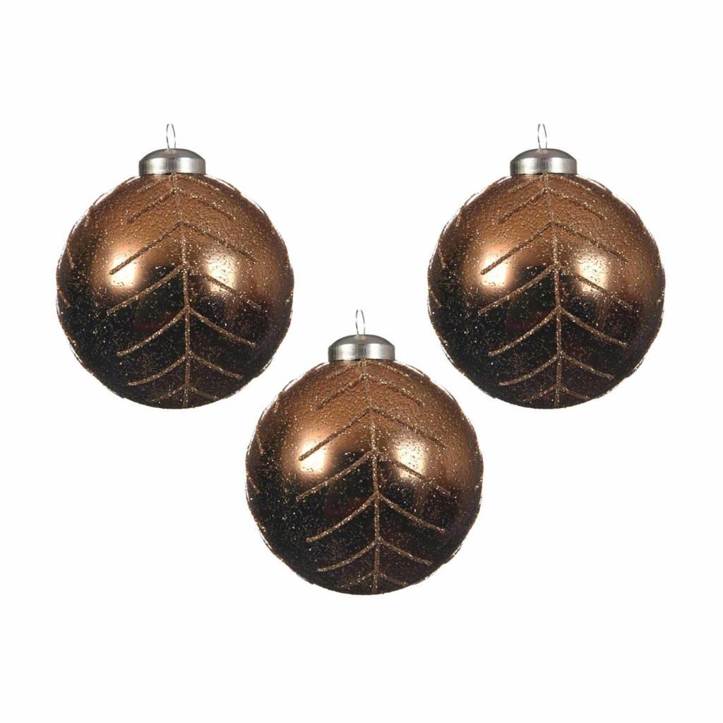Decoris kerstballen (Ø8 cm) (set van 3), Bruin