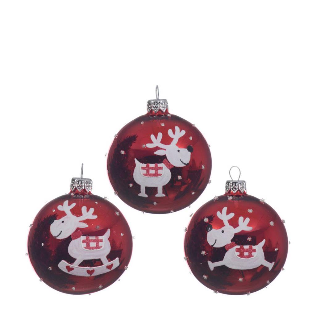 Decoris kerstballen (Ø8 cm) (set van 6), Rood