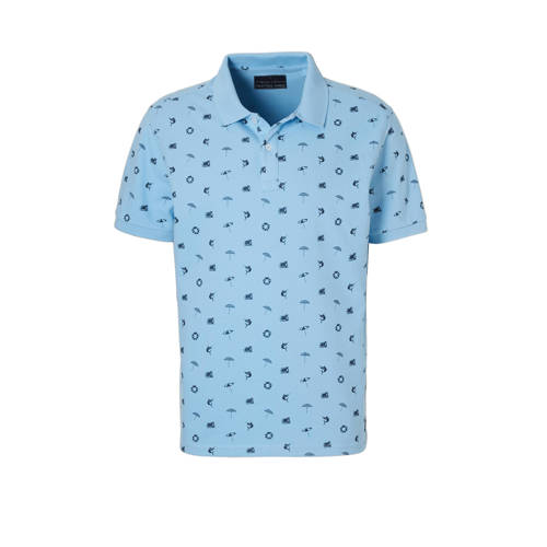 regular fit polo met all-over print lichtblauw