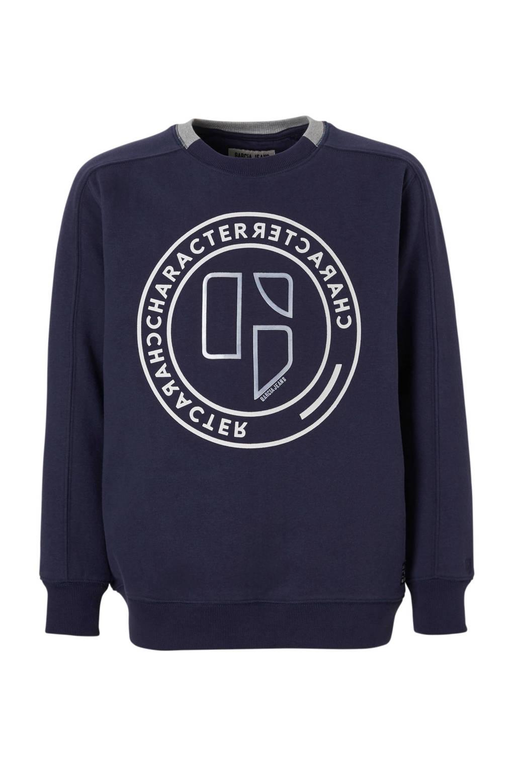 Garcia sweater donkerblauw, Donkerblauw/wit