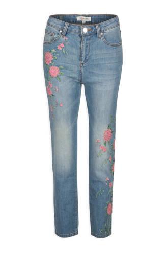 high waisted jeans met bloemborduursels