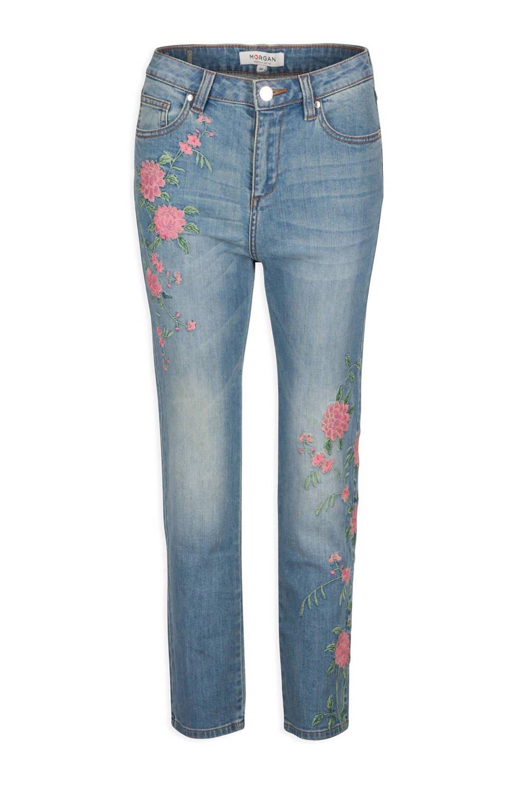 Morgan high waisted jeans met bloemborduursels, Blauw