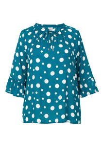 Miss Etam Plus top met stippen blauw
