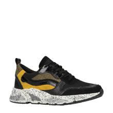 leren sneakers zwart/oker