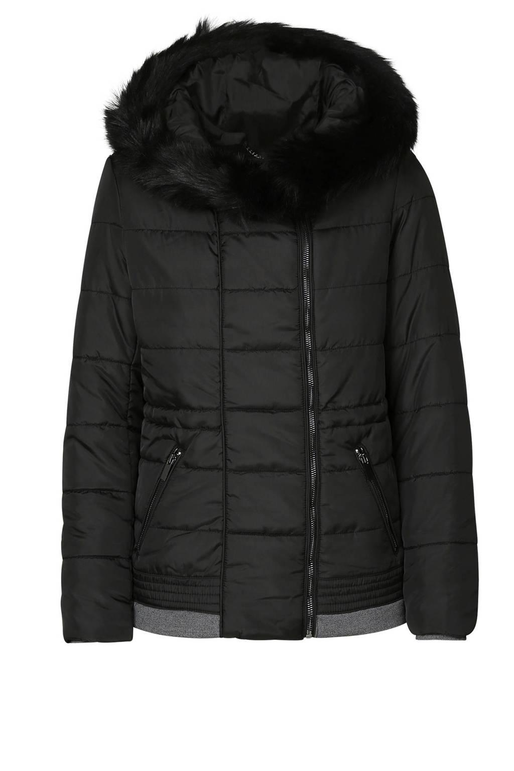 Cassis gewatteerde winterjas zwart, Zwart
