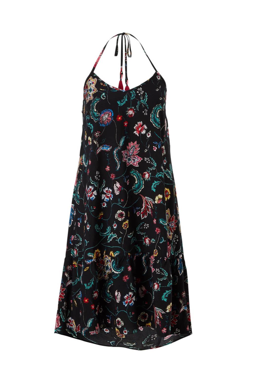C&A Yessica A-lijn halterjurk met bloemen zwart, Zwart/groen/roze