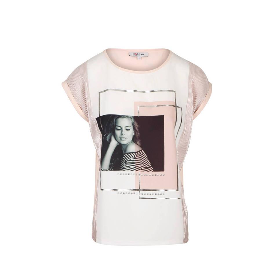 T Shirt Met Print Wit/Roze by Wehkamp